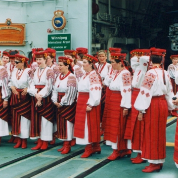 Vesnivka on a Canadian naval ship